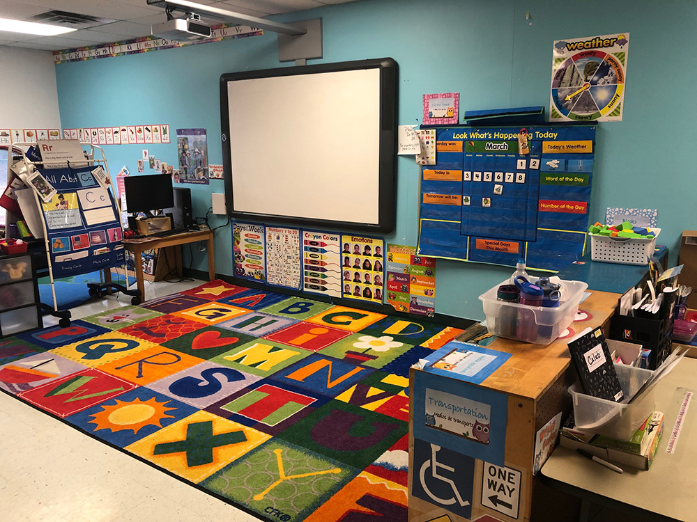 Smartboard in the private pre-k classroom at Mt. Elizabeth Academy daycare and christian learning center