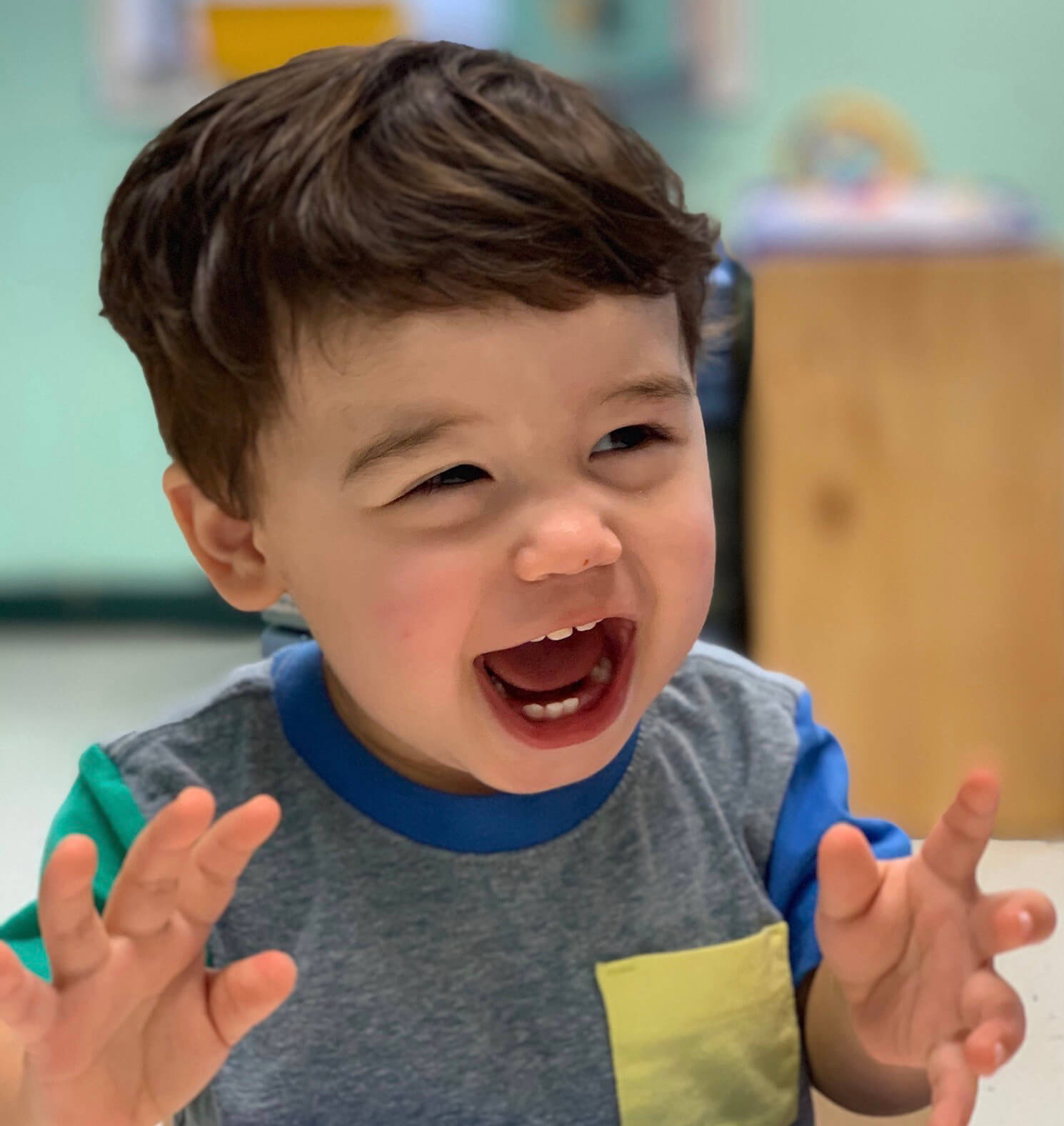 Small happy boy at Toddlers 1 class, at Mt. Elizabeth Academy, Daycare, preschool, Kennesaw Christian school, private school